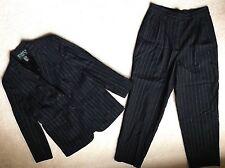 RALPH LAUREN Black Pinstripe WOOL Suit Jacket Pleated Slacks Women 12P Petite