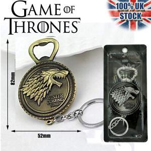 Large House Stark Bottle Opener Key Ring Key Chain Game of Thrones Fan Gift GOLD