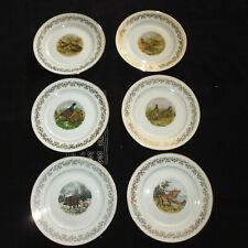 6 assiette service dessert porcelaine LIMOGES gibier chasse vintage