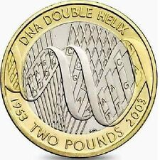 2003 £ 2 DNA DOPPIA ELICA 50th due Pound Coin Hunt 08/32 RARA Bi-Metal 2 G