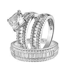 Trio Wedding Ring Set Sterling Silver Baguette Simulated Diamonds Wedding Set