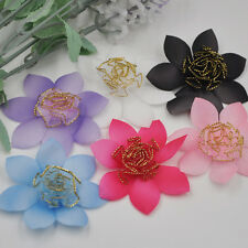 20PCS Mix Organza Ribbon Rose Flowers Bows Padded Felt Appliques E259