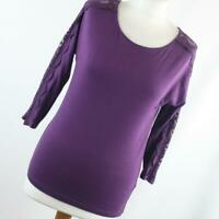 New Look Womens Size 12 Purple Plain Cotton Top