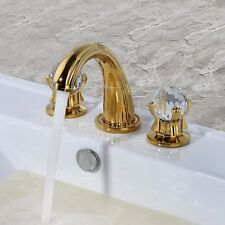 Bathroom Vanity Sink Faucet Two Crystal Knobs Brass Golden Finished Luxury Style