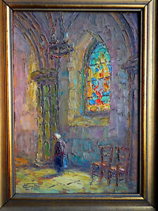 TABLEAU signé Victor Louis Cuguen Huile panneau peinture église religieux top