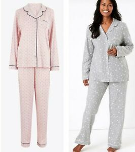 Ladies M*S Pyjamas Nightwear Women's Grey Pink Cotton Full Length Pjs Plus NEW