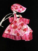 "Vintage Pink & Red Heart ""6 Inch Doll  Dress & Bonnet Muriel L. Carter"