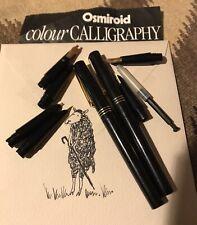 Vintage  Osmiroid  CALLIGRAPHY  Set Unused Pens Nibs Black/  Gold
