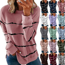 Women Casual Striped Print T Shirt Long Sleeve Blouse Loose Pullover Tunic Tops