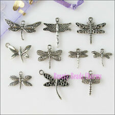 40Pcs Mixed Lots of Tibetan Silver Tone Dragonfly Charms Pendants