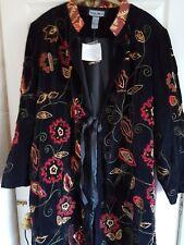 """Indigo Moon LONG FROCK COAT Sz 3XL - BLACK Velvet wth Embroidery -Bust 56"""" RARE"""