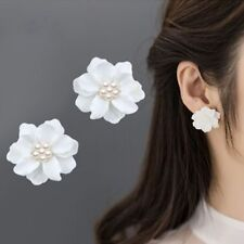 Inlay Beads Women's Big White Flower Camellia Simulated Pearl Stud Earrings--