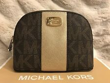 NWT MICHAEL KORS PVC MET CENTER STRIPE LG TRAVEL POUCH/CASE IN BROWN/PALEGOLD