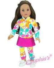 "Athletic Ruffle Skort w/Leggings and Half Zip fits 18"" American Girl Doll"