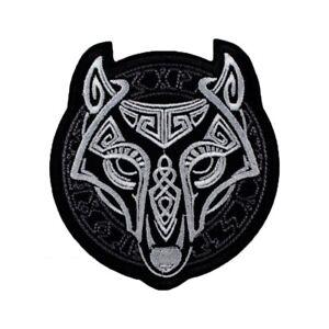 Viking Wolf Fenrir Head Norse Knotwork Patch Symbol