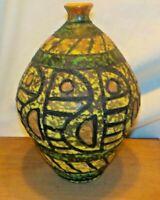 Mid Century Italy Lava Glaze Pottery Vase Mid Century Modern Cubist Raymor Vtg