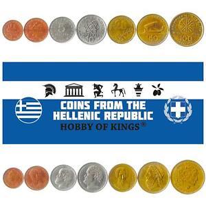 SET 7 COINS GREECE 1 2 5 10 20 50 100 DRACHMAS 1982 - 2000