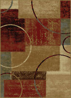 Multi-Color Boxes Circles Contemporary Area Rug Abstract Hoops Squares Carpet