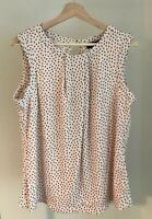 KARL LAGERFELD PARIS polka Dotted Foldover Neck  sleeveless Top blouse size XL