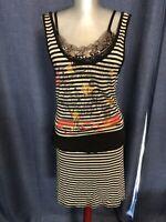 Save the Queen SO UNIQUE amazing details stretch summer dress great colors M L