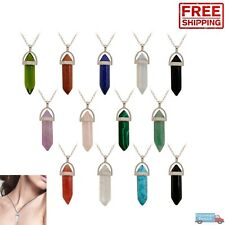 Crystal Gemstone Necklace Pendant Natural Chakra Stone Energy Healing with Chain