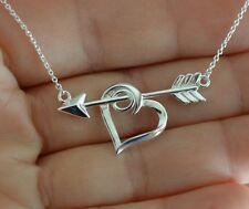 925 Sterling Silver Arrow and Heart Charm Necklace, Heart Arrow Charm Necklace
