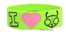 Invader Zim I HEART LOVE GIR Green rubber bracelet jewelry Officially Licensed