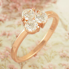 Wedding Womens Lot Rose Gold Filled Clear Zircon Lucky Love Ring,Size 7