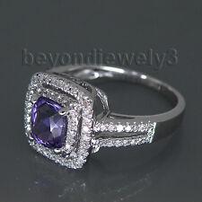 Solid 14Kt White Gold Diamond Purple Amethyst Gemstone Engagement Weddign Ring