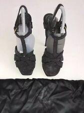 YSL Saint Laurent Black Glitter Open Toe Tribute Slingback Sandals Size EU 37.5