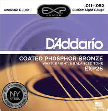 D'Addario EXP26 Coated Acoustic Guitar  Phospher Bronze Strings.  Custom Light