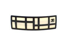 Chanel Cream Off White Black Modern Art Hair Clip Barrette 2008 Accessory