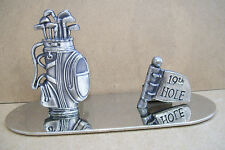 "19th Hole Golf Figurine Metal On Mirror 2.5"" Tall 5"" Wide"