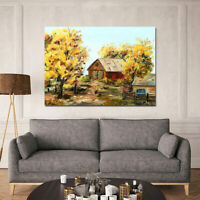 Canvas Wall Art Autumn Fall Cottage Framed Picture for Living Room Bedroom Decor