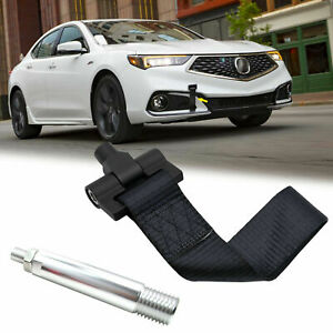 Black Track Racing Style Bumper Tow Nylon Strap Adapter For Acura TLX 2015-2019
