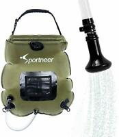Sportneer Solar Shower Bag, Portable Heating Camping Shower Bag with Shower Head