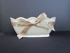 Lenox Porcelain Great Giftables Ivory Bowl with Pierced Pink Satin Ribbon Nice!