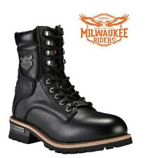 Men's 100%  Leather Motorcycle Boots Zipper & Lace-Up By Milwaukee Riders®