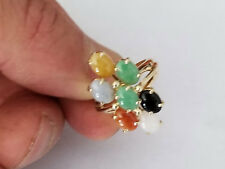 3.00ctw Multicolor Jadeite 14K Yellow Gold Ring Brand New.