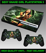 PLAYSTATION 3 CONSOLE STICKER SEXY SNAKE GIRL SKIN GRAPHICS & 2 CONTROLLER SKINS