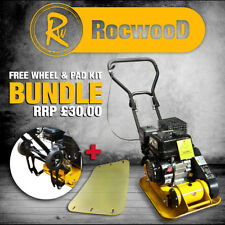 """Petrol Compactor Wacker Plate Compaction RocwooD 12"""" With FREE Pad & Wheel Kit"""