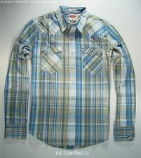 Levis Mens White Blue & Green Plaid Western Shirt SMALL NWT