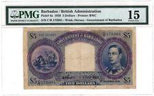 Barbados $5 KGVI 1939 PMG 15