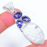"Crystal Quartz, Tanzanite Gemstone Ethnic Jewelryr Jewelry Pendant 2.4"" AK-3244"