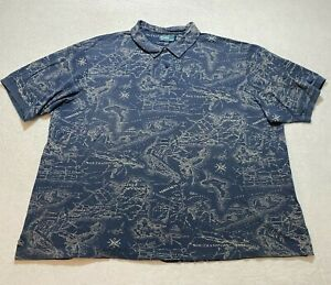 Vintage Polo Ralph Lauren Polo Shirt Size 4XLT Blue All Over Print Map Collared