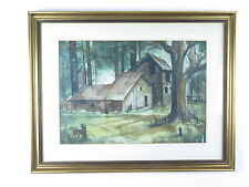 Vtg impressionist watercolor painting signed Allan Price house woods landscape