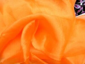 Plain Orange Organza Fabric Remnant Crafts, Decorations, Fancy Dress 148 x 220cm
