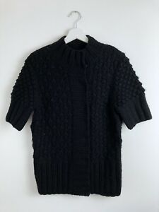 Ted Baker Womens Black Wool Chunky Knit Short Sleeve Button Jumper Size 4 UK 14