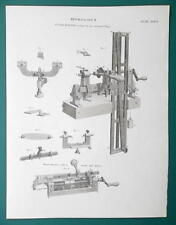HOROLOGY Clock Making Fusee Engine - 1815 Antique Print by A. REES