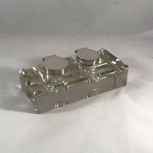 Hallmarked Solid Silver And Glass Double Inkwell Birmingham 1900